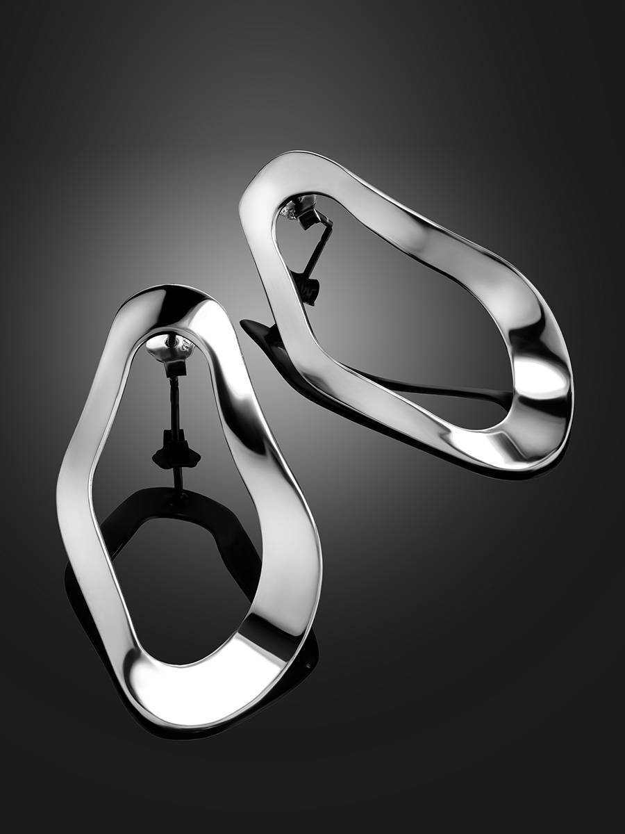 Abstract Design Silver Earrings The Liquid, image , picture 2