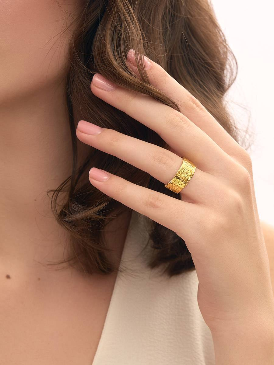 Trendy Textured Gold Plated Silver Ring The Liquid, Ring Size: Adjustable, image , picture 5