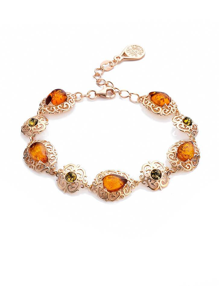 Fabulous Gold Plated Silver Bracelet With Multicolor Amber The Luxor Collection, image