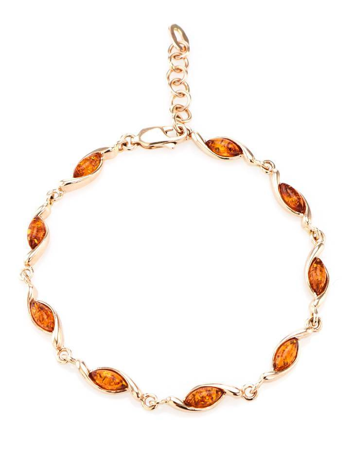 Gold Plated Silver Link Bracelet With Amber The Liana, image , picture 3