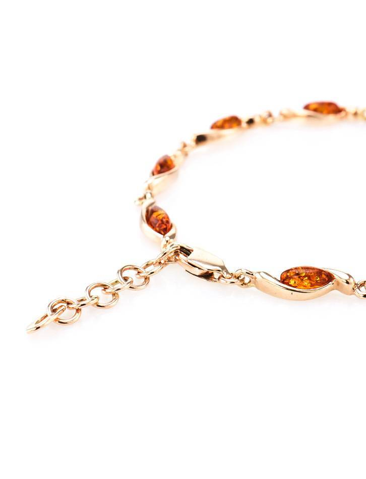 Gold Plated Silver Link Bracelet With Amber The Liana, image , picture 5