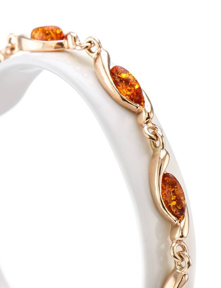 Gold Plated Silver Link Bracelet With Amber The Liana, image , picture 2