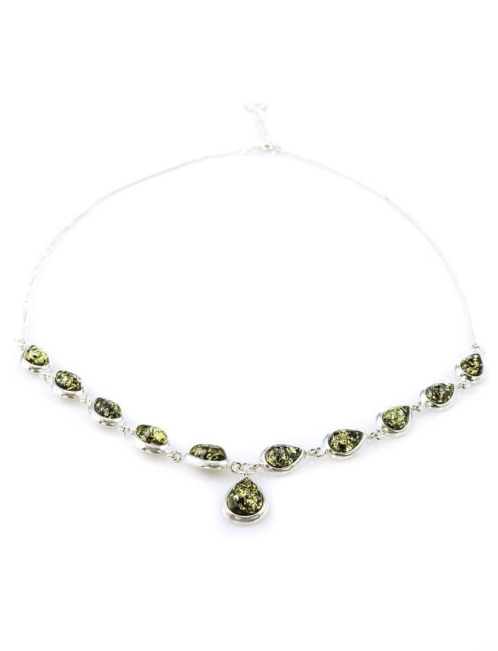 Refined Silver Necklace With Green Amber The Fiori, image , picture 3