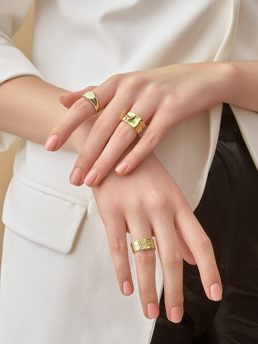 Trendy Textured Gold Plated Silver Ring The Liquid, Ring Size: Adjustable, image , picture 6