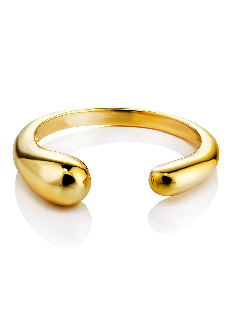 Gorgeous Gold-Plated Silver Ring The Liquid, Ring Size: Adjustable, image , picture 3