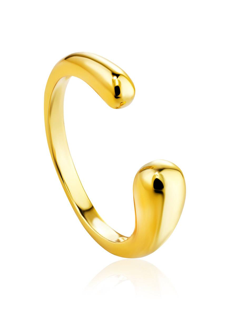 Gorgeous Gold-Plated Silver Ring The Liquid, Ring Size: Adjustable, image