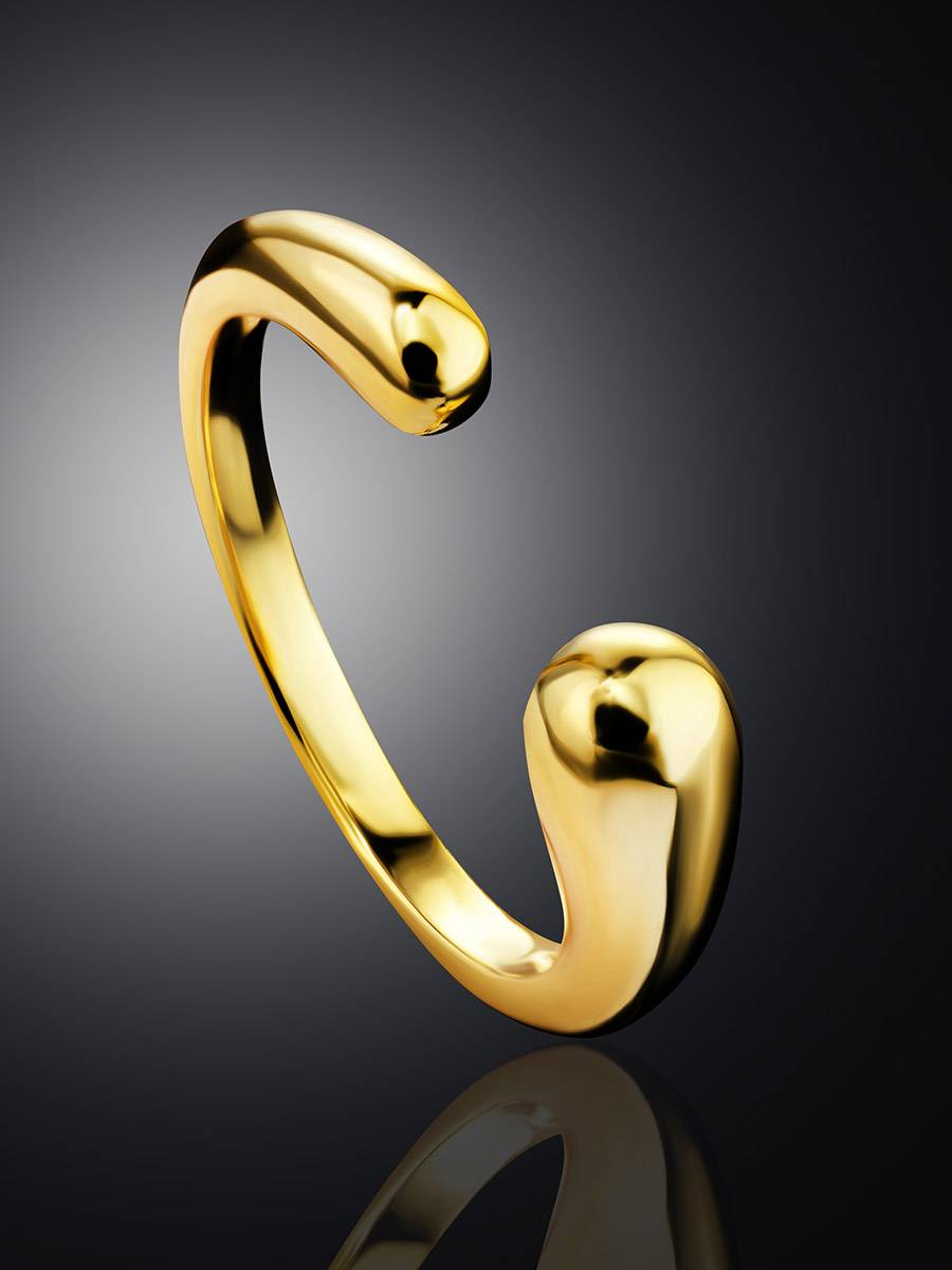 Gorgeous Gold-Plated Silver Ring The Liquid, Ring Size: Adjustable, image , picture 2