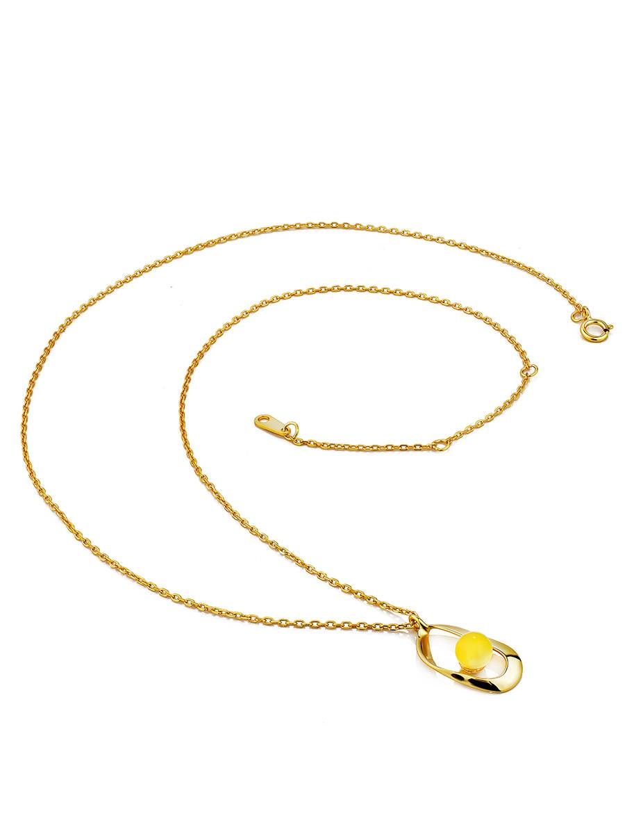 Boho Style Gilded Silver Necklace With Natural Amber Pendant The Palazzo, image , picture 3