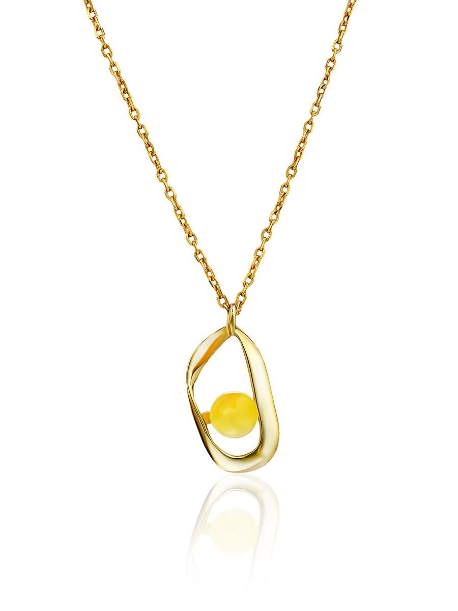 Boho Style Gilded Silver Necklace With Natural Amber Pendant The Palazzo, image