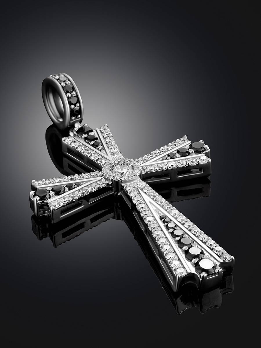 White Gold Diamond Cross Pendant, image , picture 2