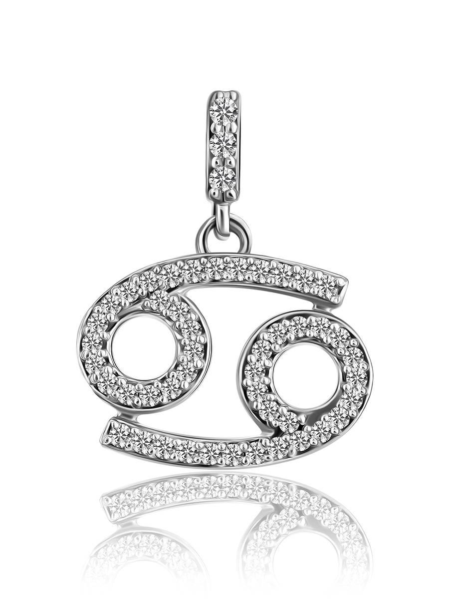 White Gold Diamond Cancer Sign Pendant, image