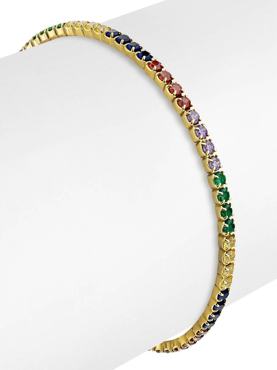 Multicolor Crystal Tennis Bracelet, image , picture 3