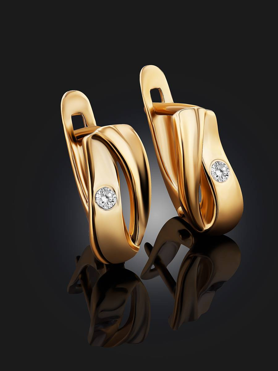 Glossy Gold Crystal Earrings, image , picture 2