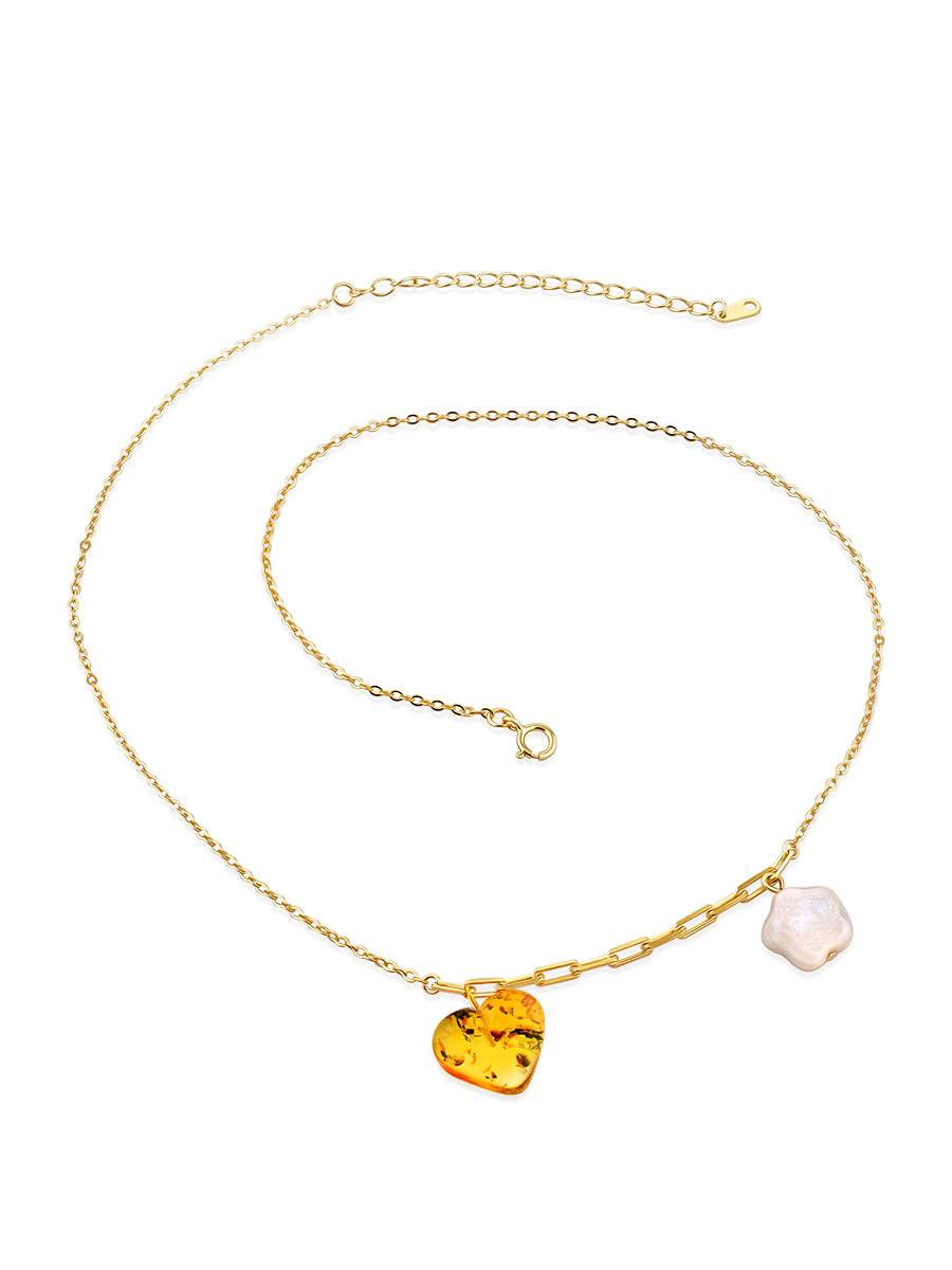 Romantic Gilded Silver Necklace With Amber And Pearl Pendants The Palazzo, image , picture 4