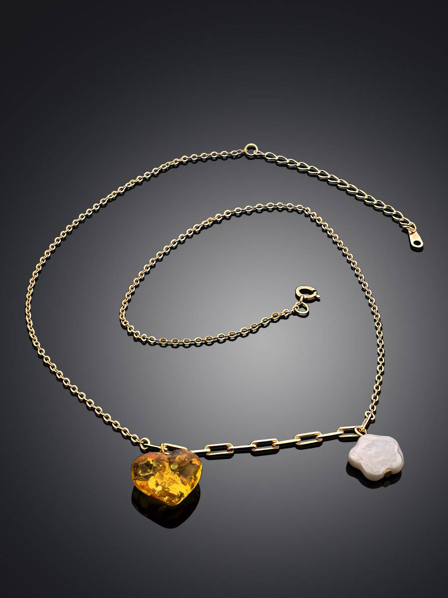 Romantic Gilded Silver Necklace With Amber And Pearl Pendants The Palazzo, image , picture 2