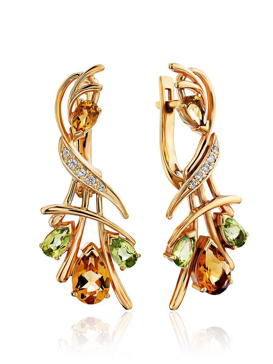 Luminous Gilded Silver Citrine Earrings, image
