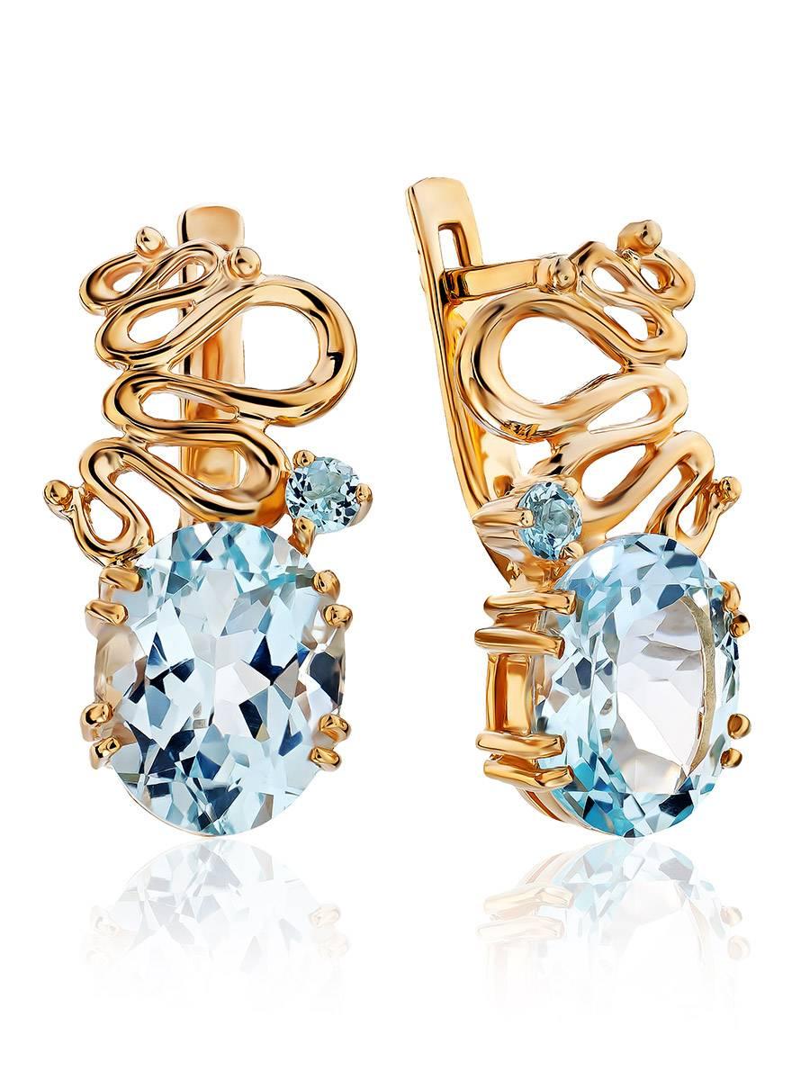 Stylish Gilded Silver Topaz Earrings, image