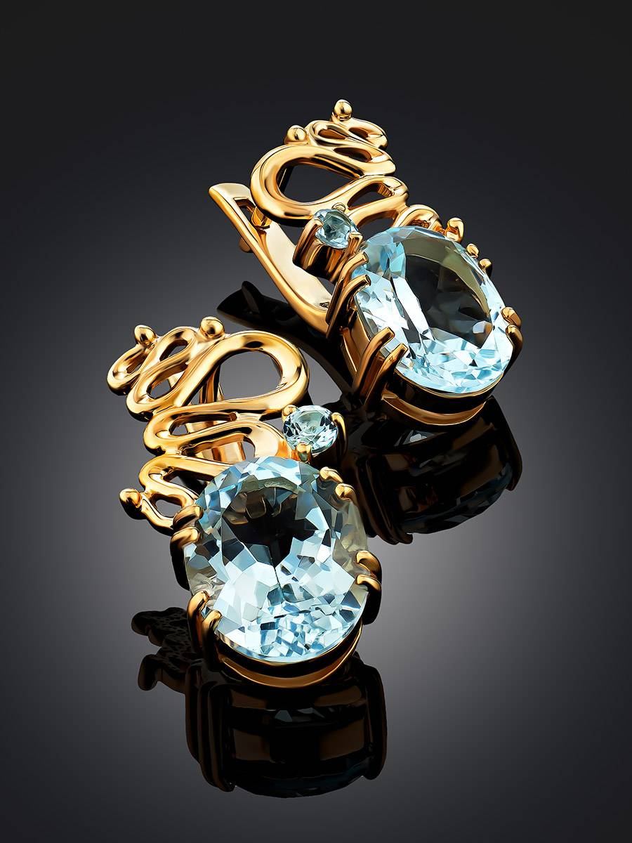 Stylish Gilded Silver Topaz Earrings, image , picture 2