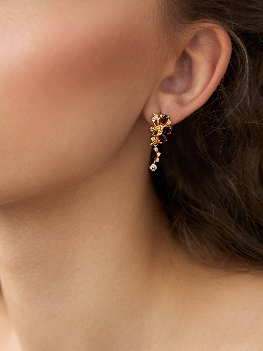 Bright Gilded Silver Garnet Earrings, image , picture 3