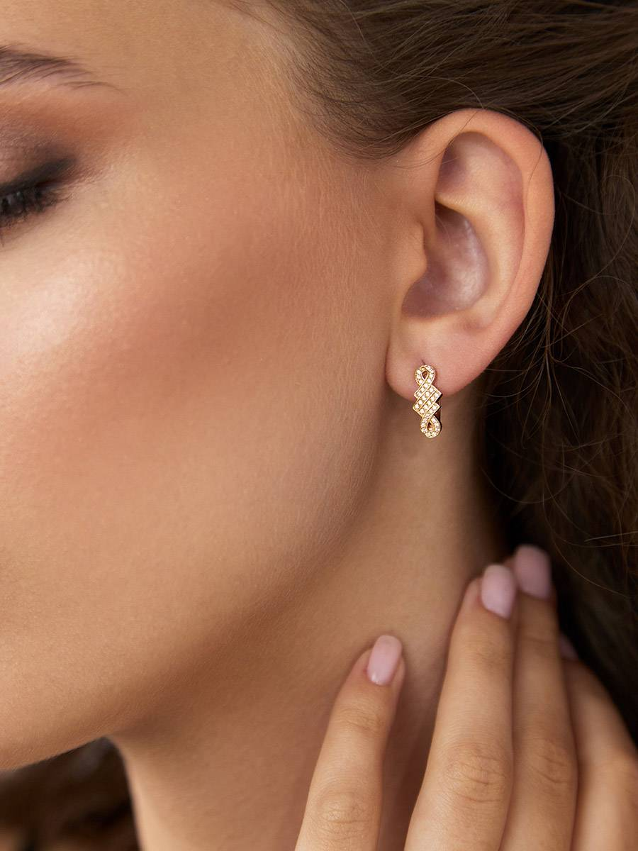 Chic Gilded Silver Crystal Earrings, image , picture 3