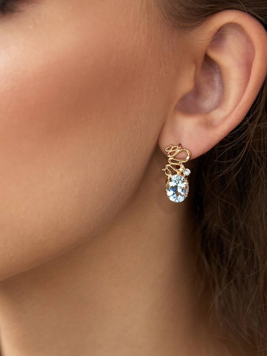Stylish Gilded Silver Topaz Earrings, image , picture 3