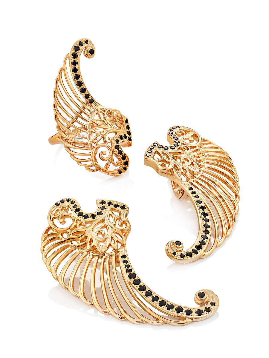 Wing Motif Gilded Silver Earrings, image , picture 4