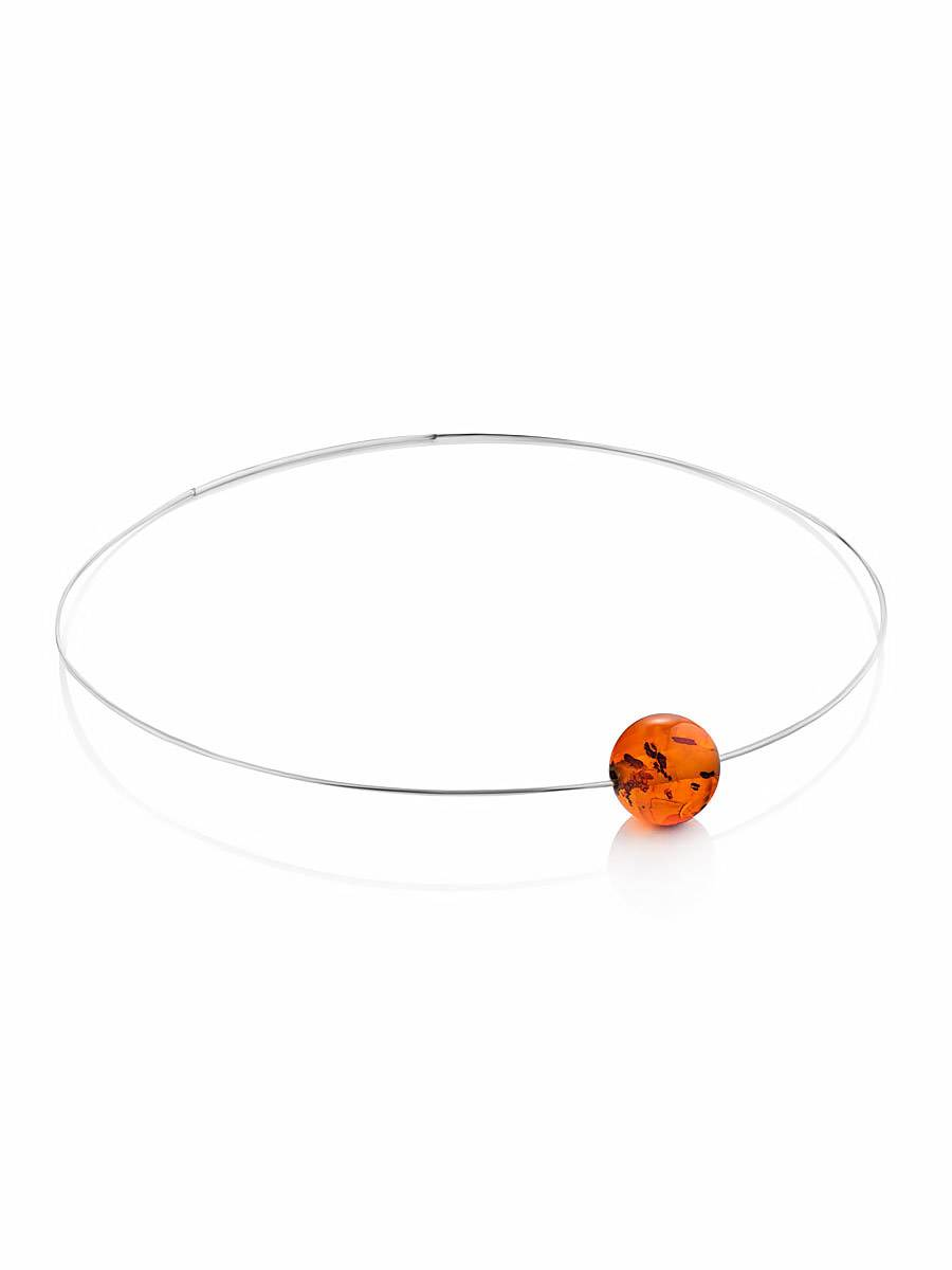 Simplistic Silver Wire Amber Necklace The Palazzo, image , picture 4