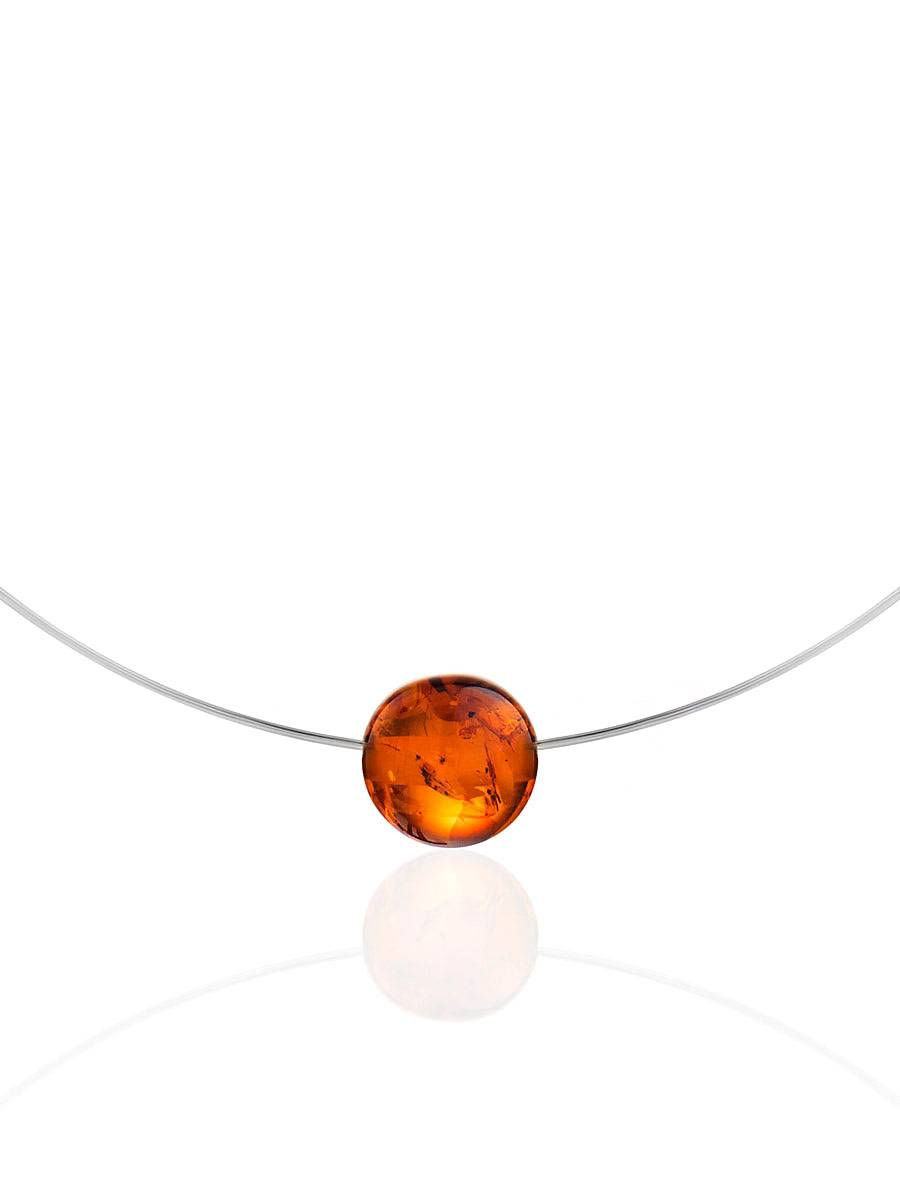 Simplistic Silver Wire Amber Necklace The Palazzo, image