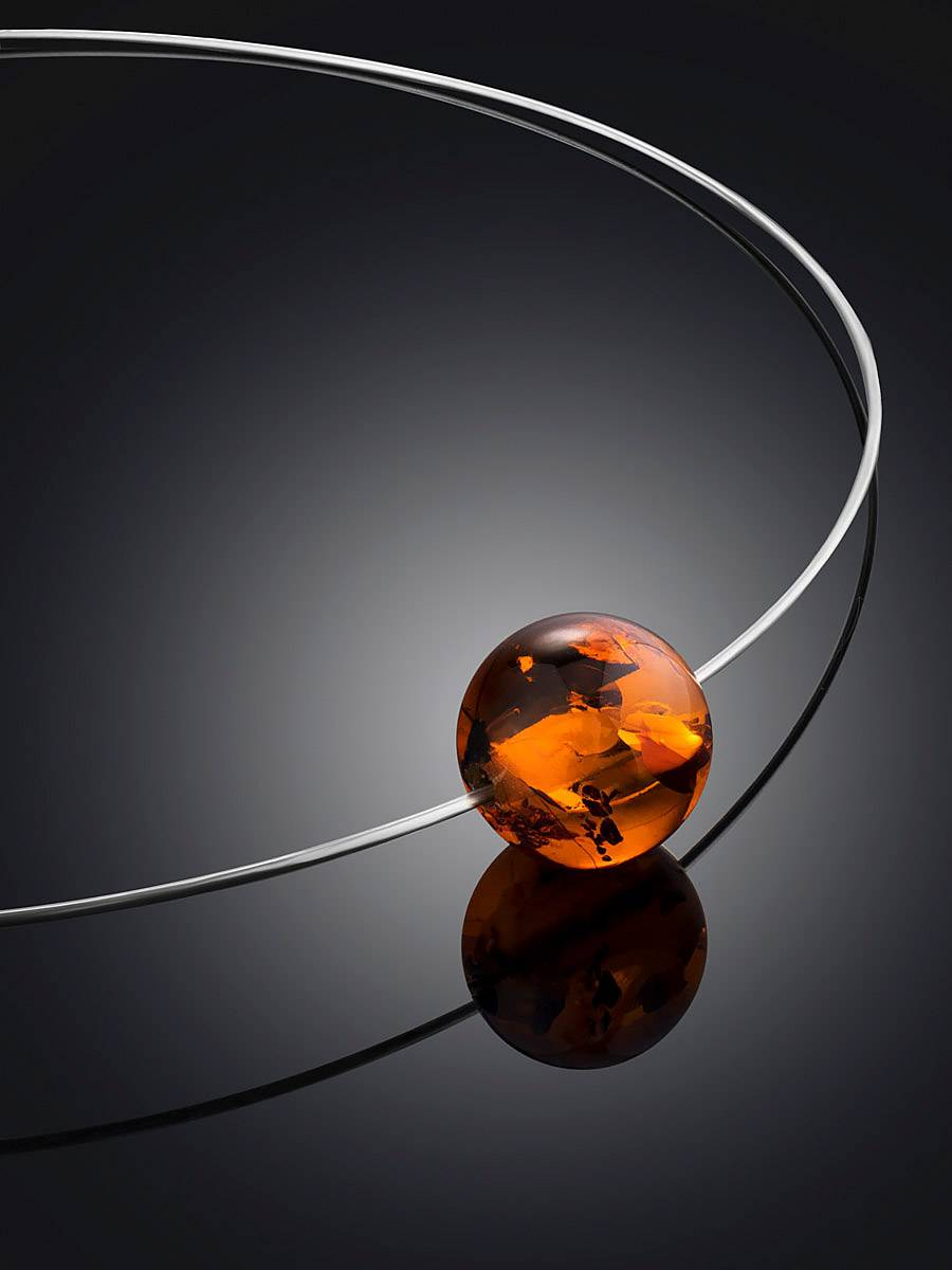 Simplistic Silver Wire Amber Necklace The Palazzo, image , picture 2