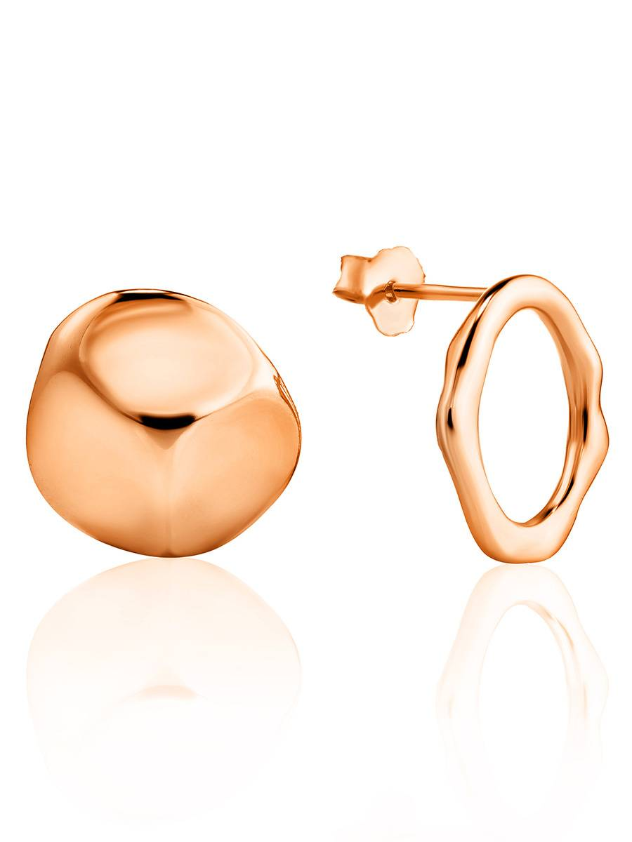 Mismatched Rose Gold Plated Silver Earrings The Liquid, image