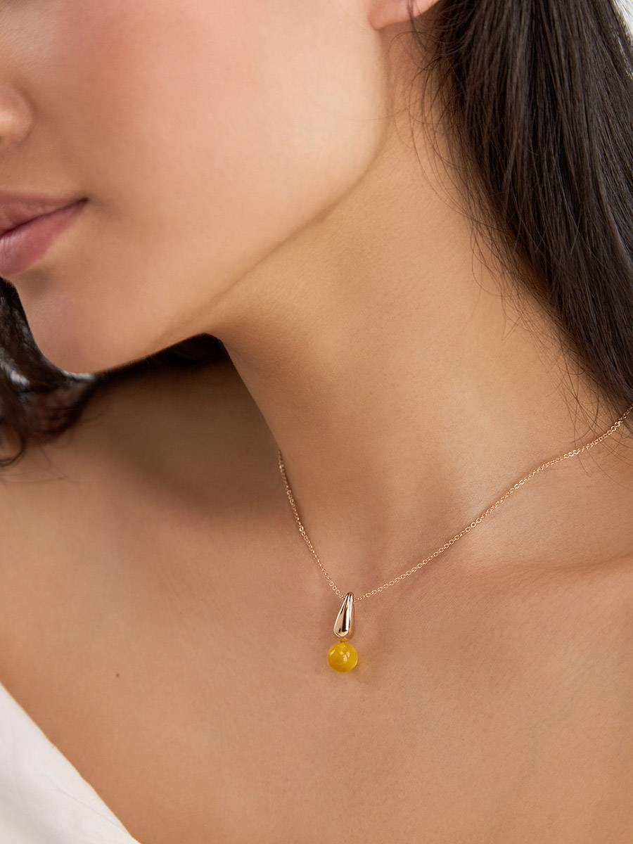 Bright Rose Gold Plated Amber Pendant Necklace The Palazzo, image , picture 4