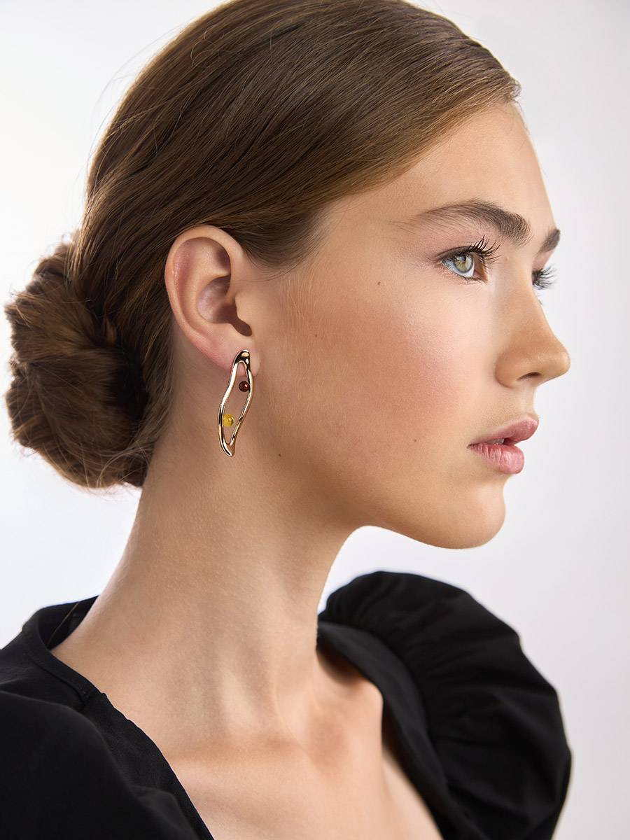 Sleek Rose Gold Plated Amber Stud Earrings The Palazzo, image , picture 6