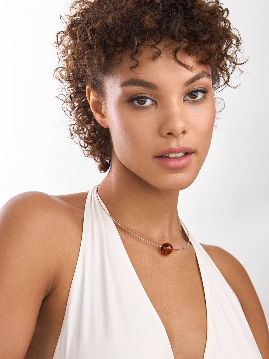 Simplistic Silver Wire Amber Necklace The Palazzo, image , picture 3