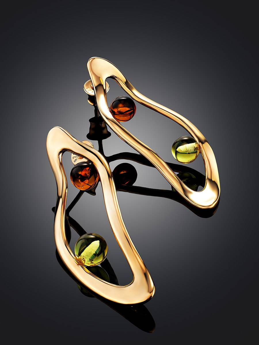 Sleek Rose Gold Plated Amber Stud Earrings The Palazzo, image , picture 2