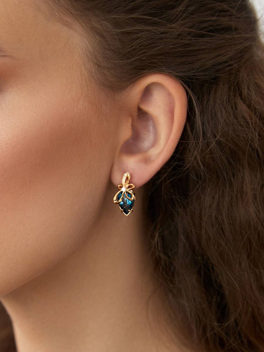 Bright Blue Topaz Earrings, image , picture 3