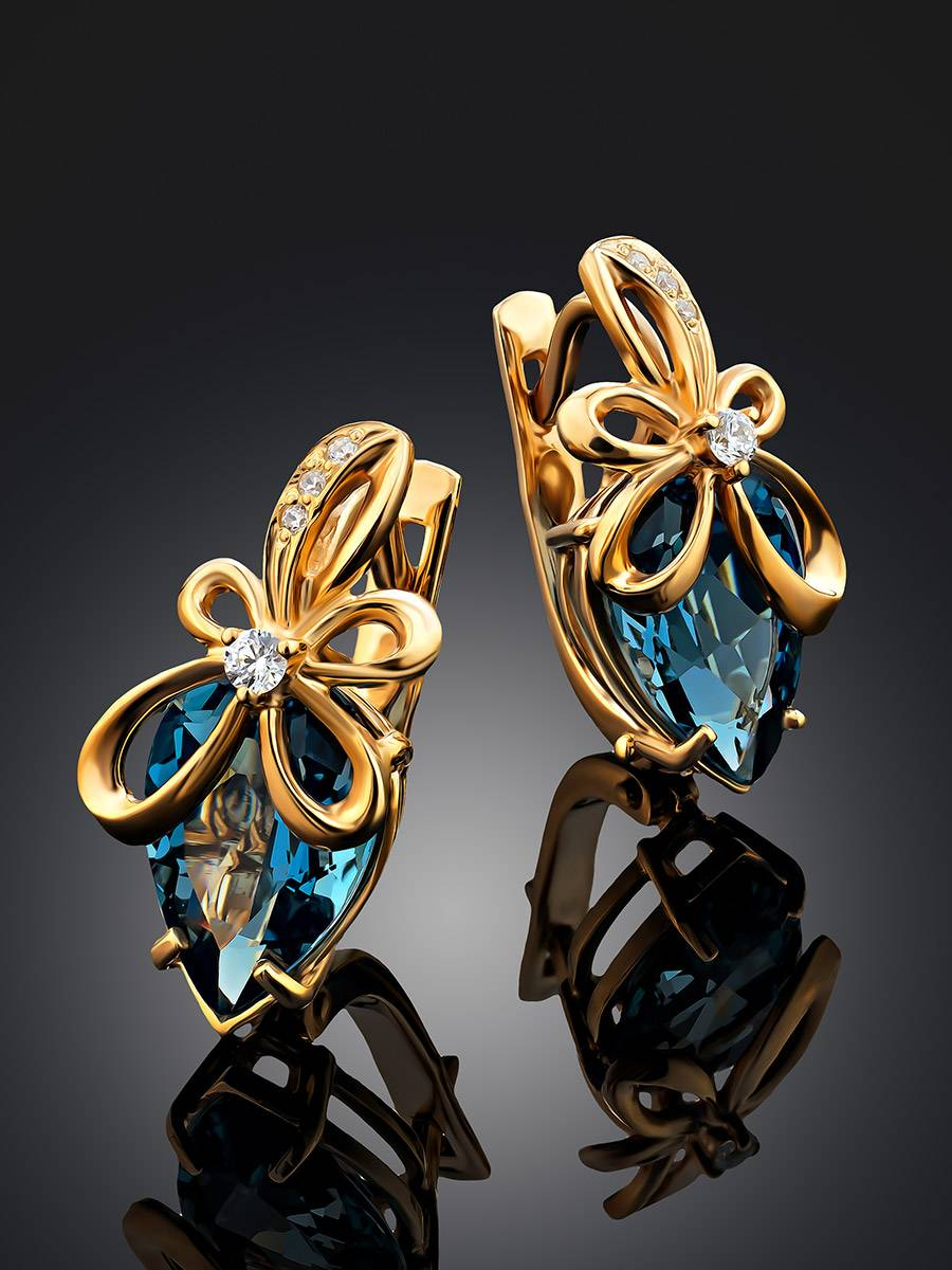 Bright Blue Topaz Earrings, image , picture 2