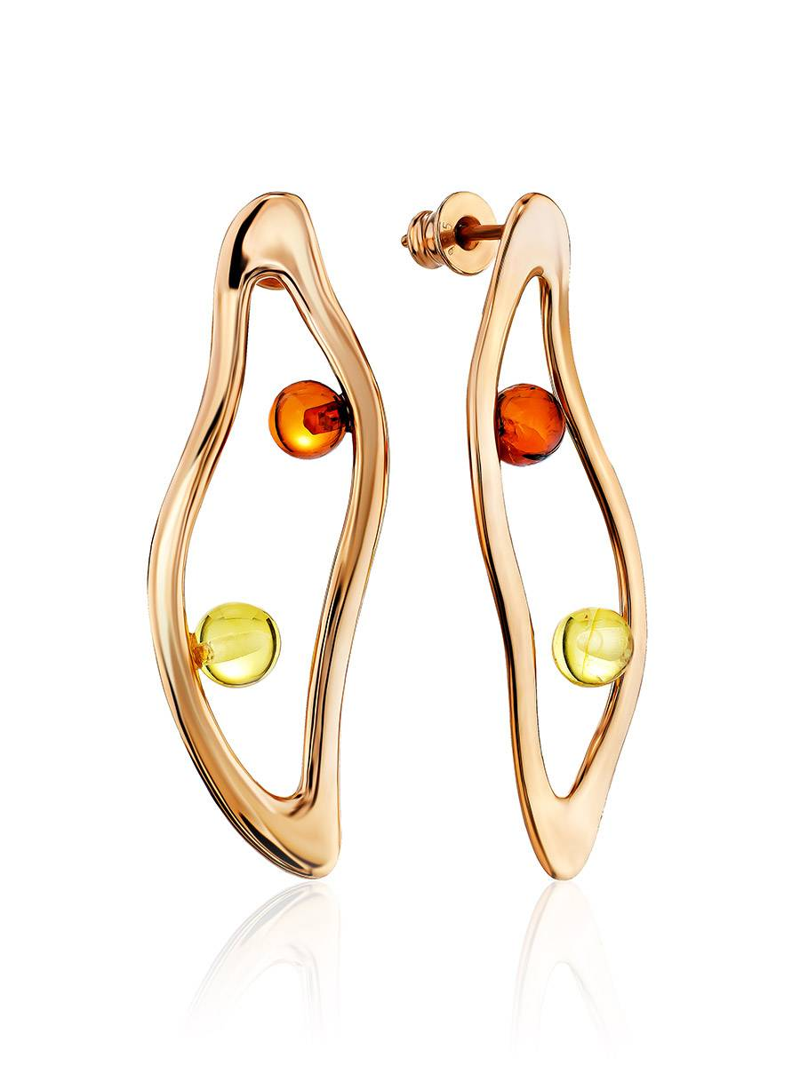 Sleek Rose Gold Plated Amber Stud Earrings The Palazzo, image