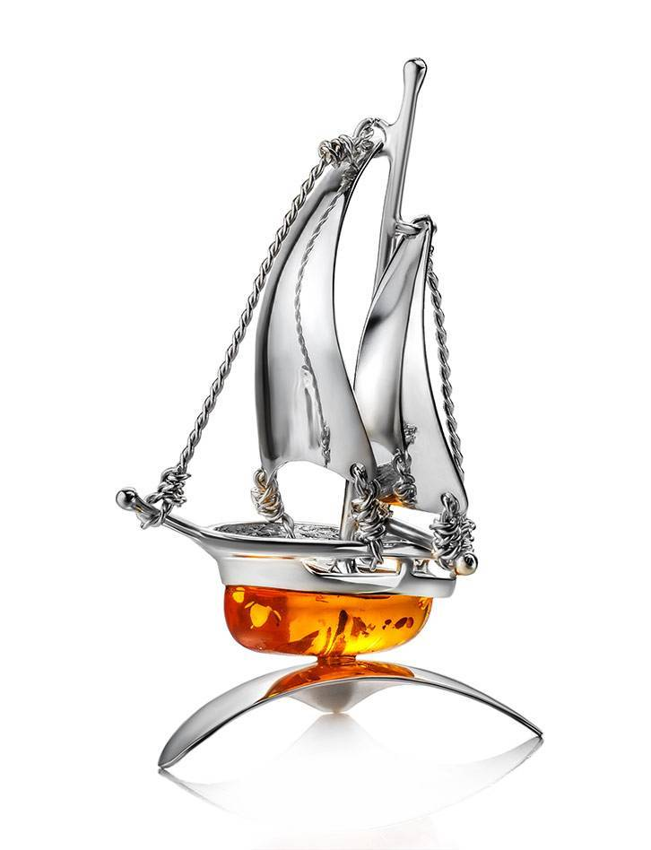 Amazing Silver Amber Decorative Ship Model, image