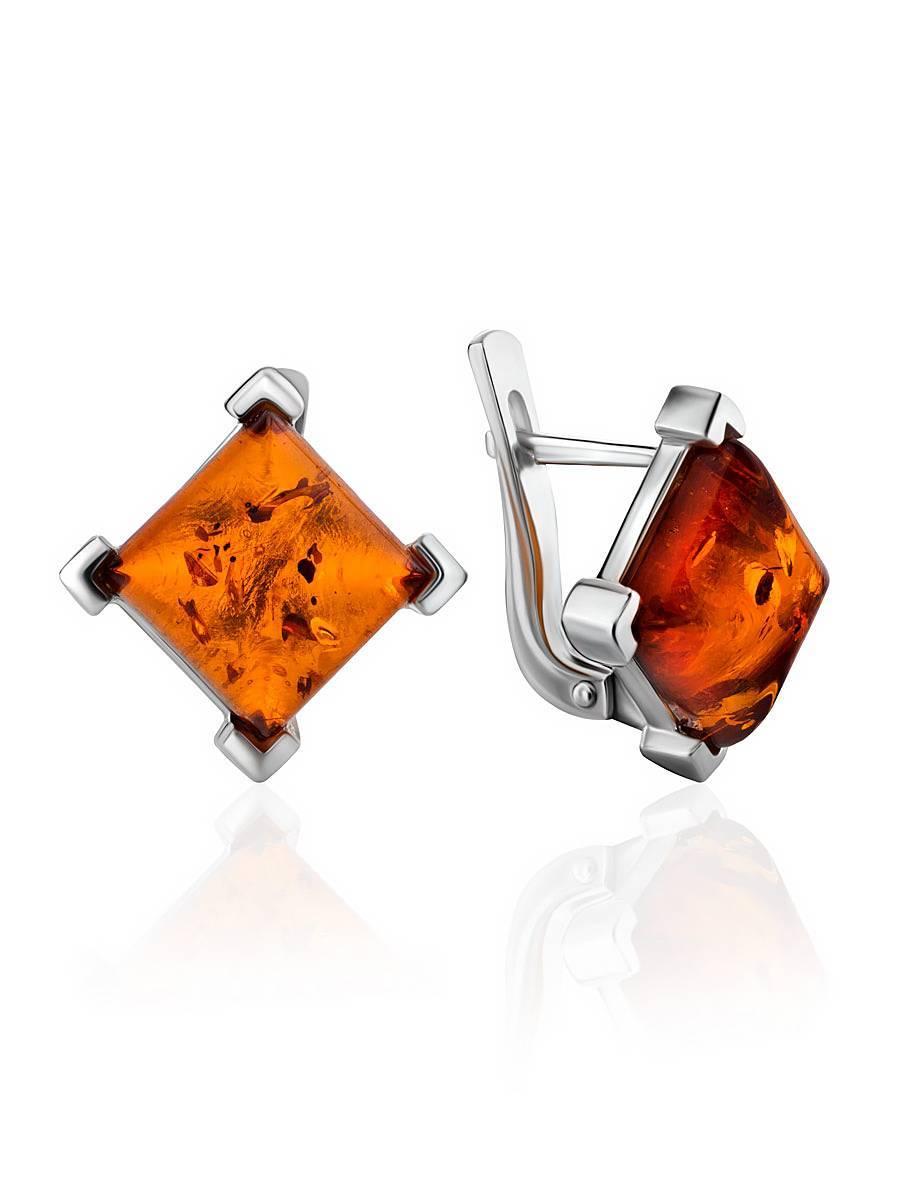 Vintage Square Sterling Amber Lever Back Earrings