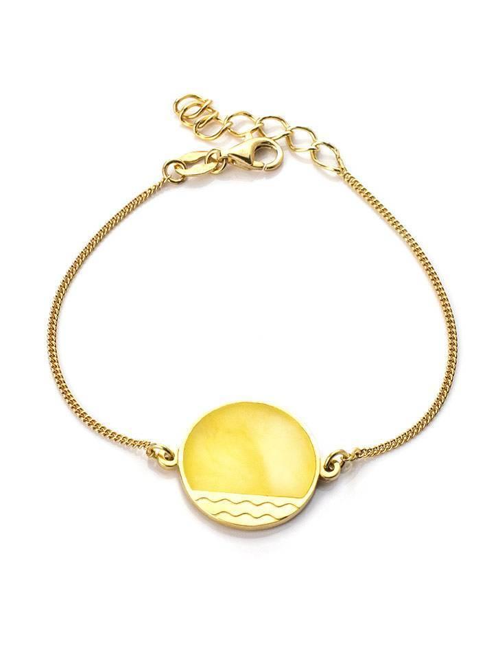 Gold-Plated Bracelet With Honey Amber The Monaco, image