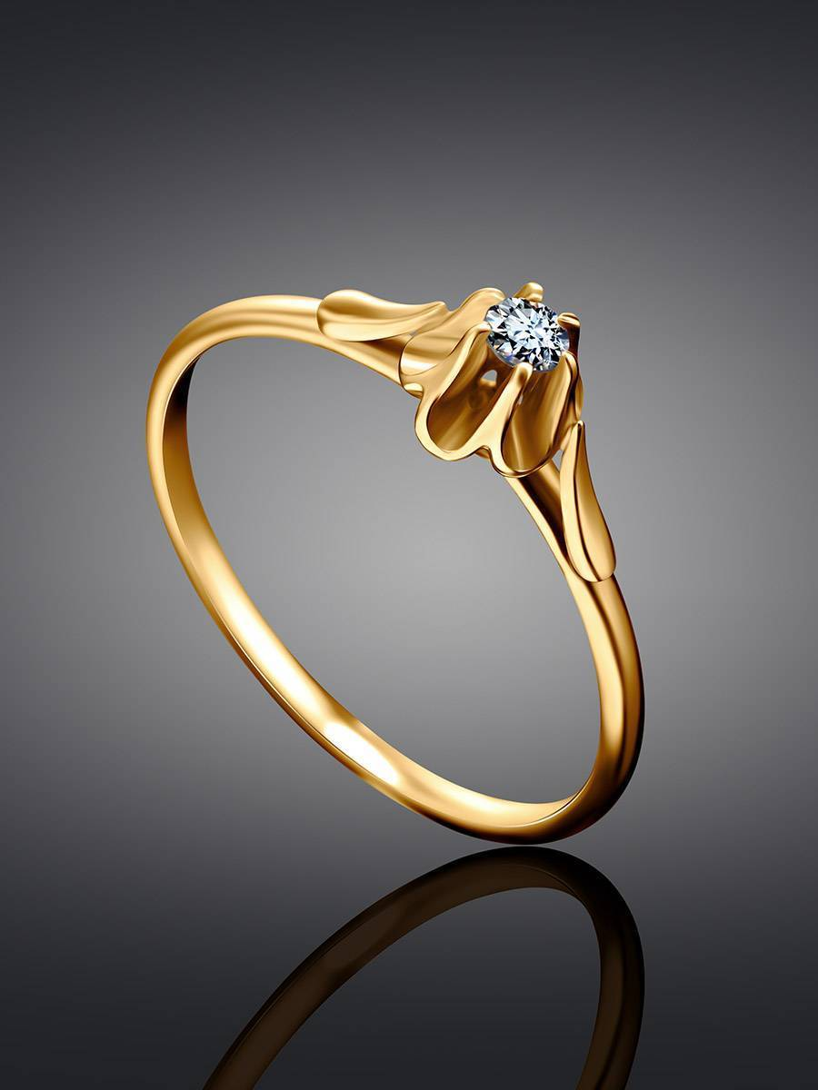 Solitaire White Diamond Ring In Gold, Ring Size: 9 / 19, image , picture 2