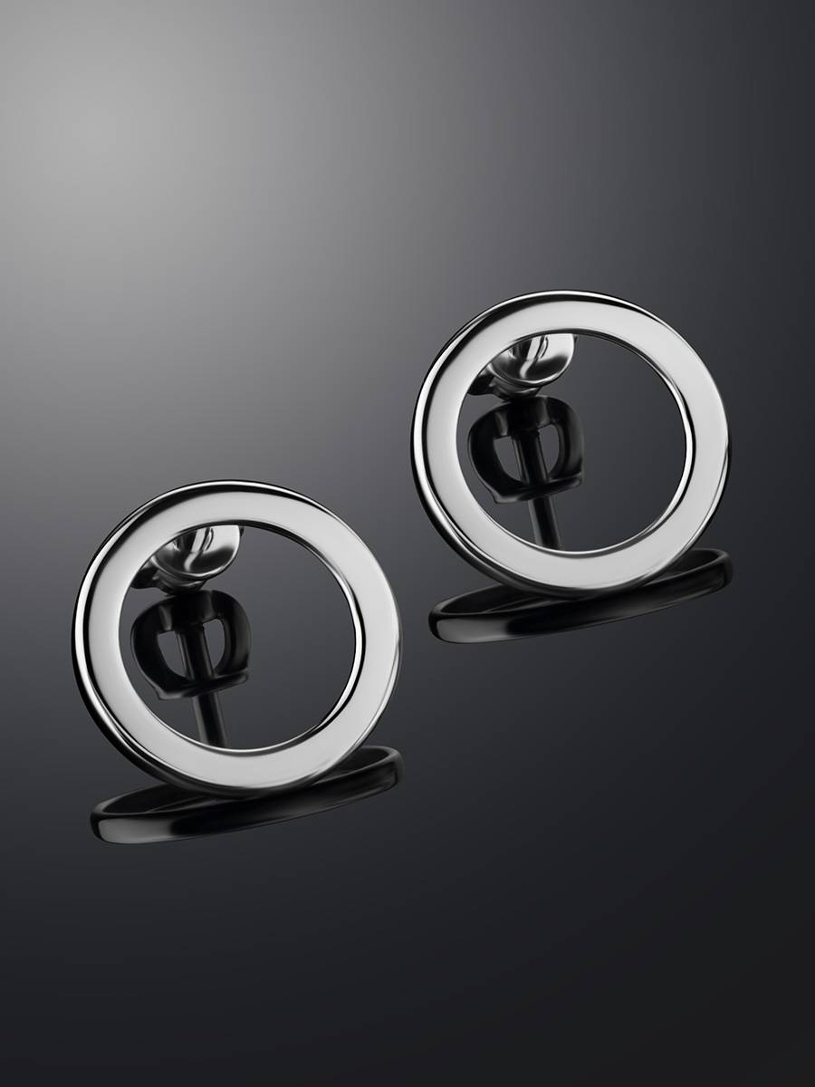 Round Silver Studs The Astro, image , picture 2