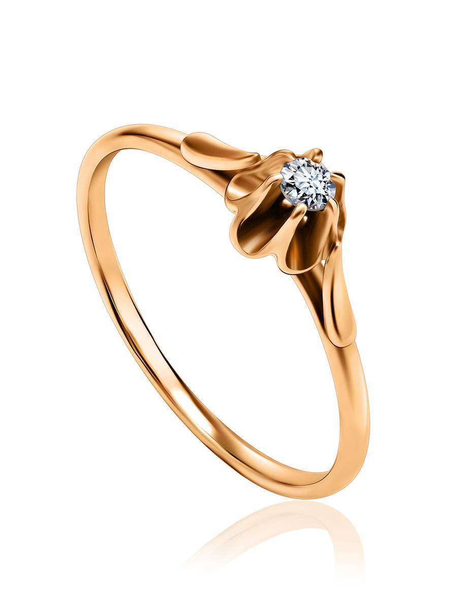 Solitaire White Diamond Ring In Gold, Ring Size: 9 / 19, image