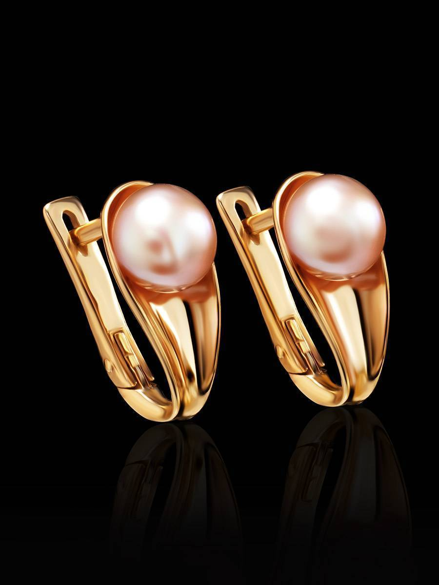 Gold-Plated Earrings With Creamrose Cultured Pearl The Serene, image , picture 2
