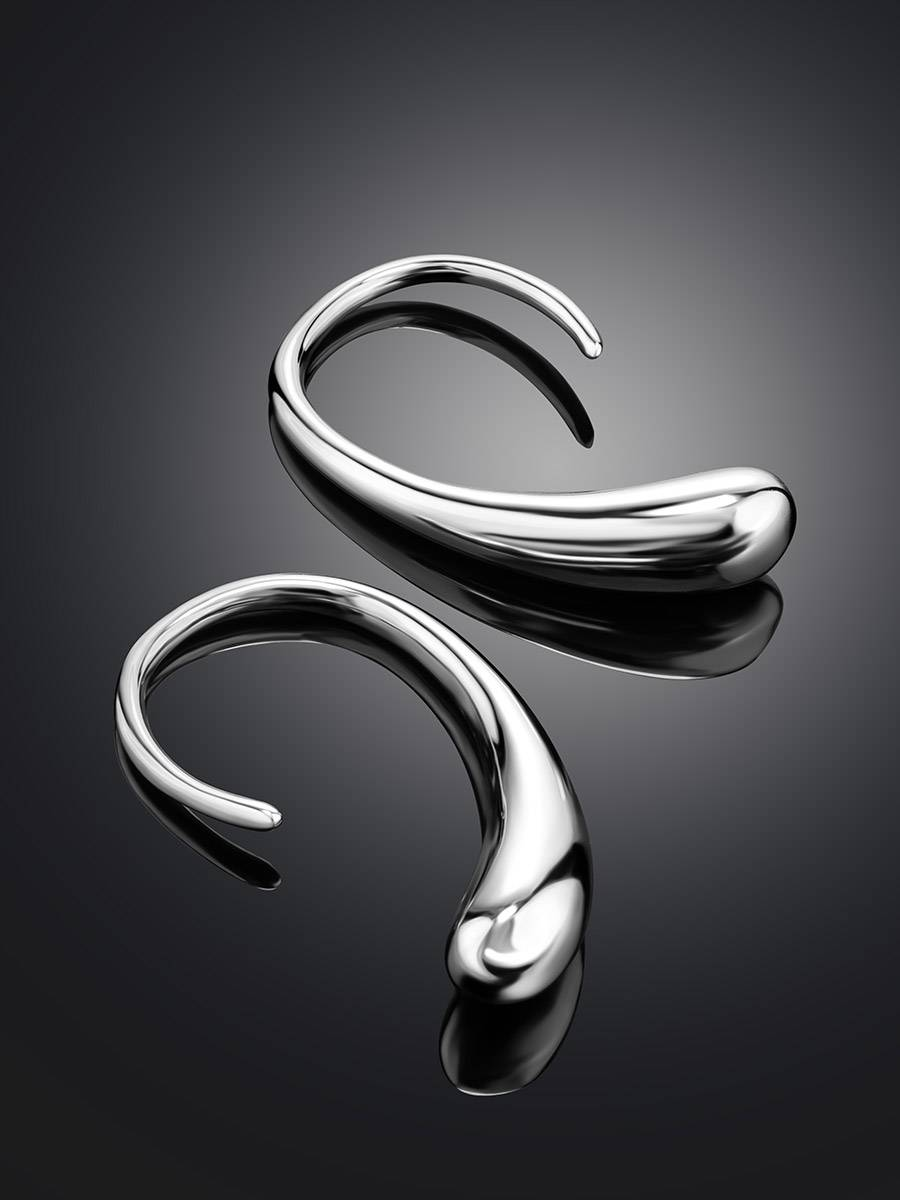 Statement Silver Drop Earrings The Liquid, image , picture 2