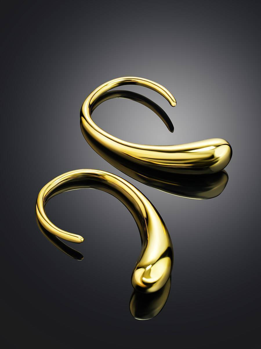 Statement 18ct Gold on Sterling Silver Drop Earrings The Liquid, image , picture 2