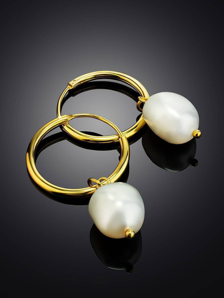 18ct Gold on Sterling Silver Hoop Earrings with Pearl Charm The Palazzo, image , picture 2