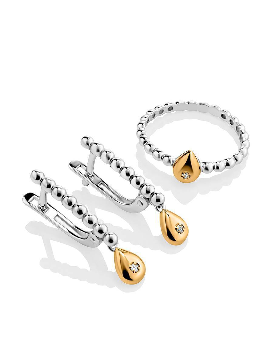 Silver Earrings With Golden Diamond Dangles The Diva, image , picture 3