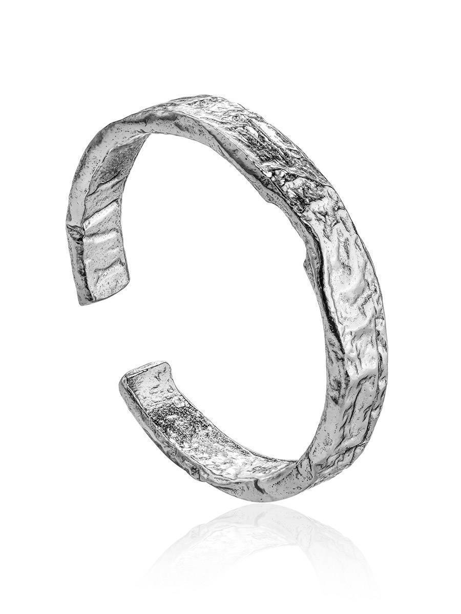 Contemporary crumbled texture one-size silver ring The Liquid, Ring Size: Adjustable, image