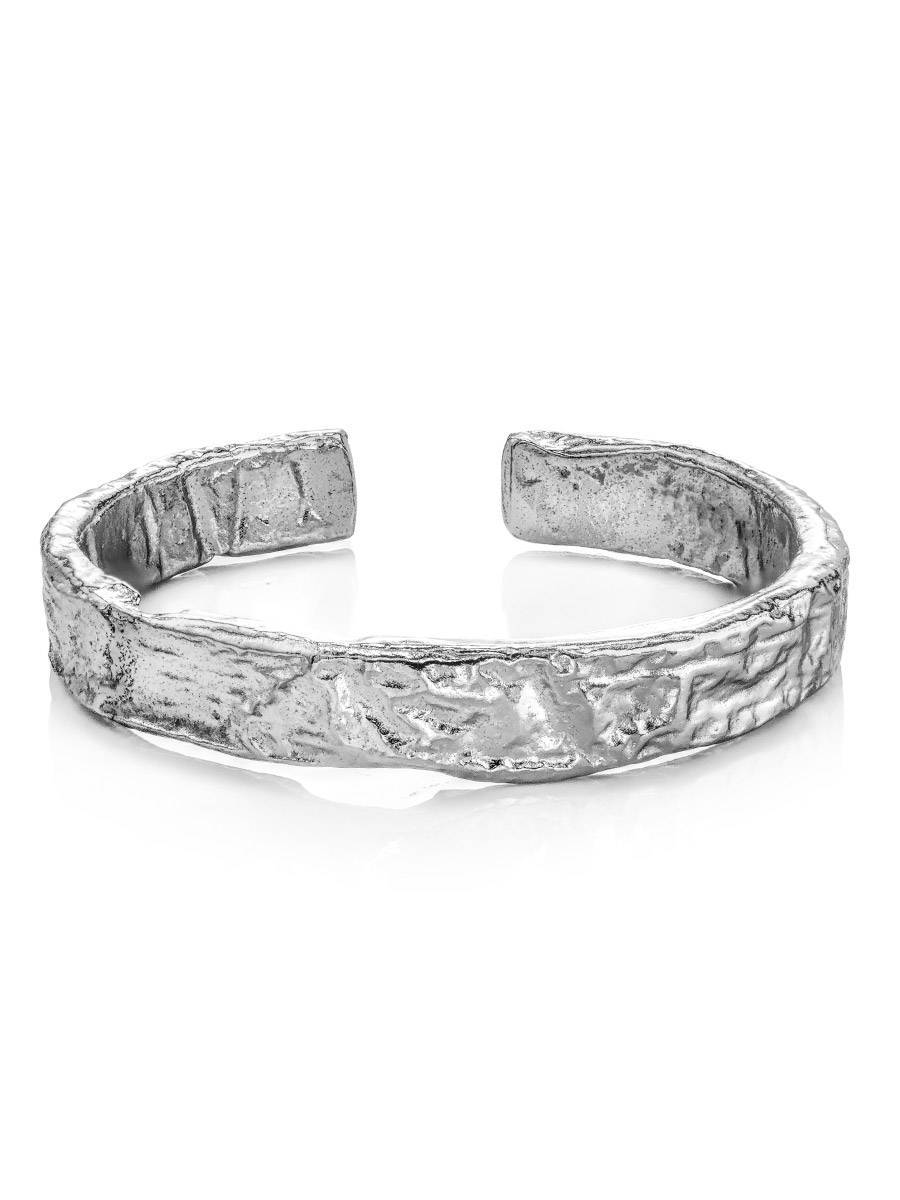 Contemporary crumbled texture one-size silver ring The Liquid, Ring Size: Adjustable, image , picture 3